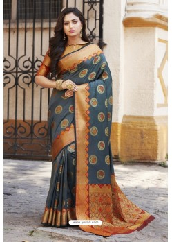 Teal Blue Heavy Banarasi Silk Designer Saree