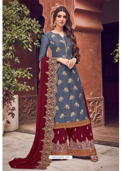 Blue And Maroon Pure Dola Jacquard Designer Palazzo Suit