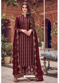 Coffee Brown Pure Dola Jacquard Designer Palazzo Suit