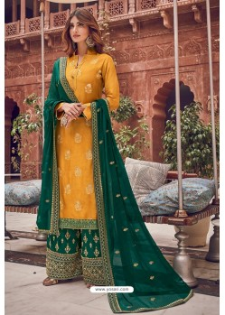Yellow And Green Pure Dola Jacquard Designer Palazzo Suit