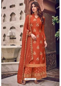 Orange Pure Dola Jacquard Designer Palazzo Suit