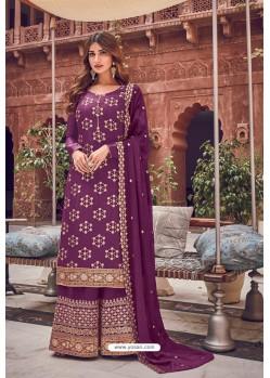 Purple Pure Dola Jacquard Designer Palazzo Suit
