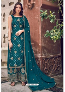 Teal Pure Dola Jacquard Designer Palazzo Suit