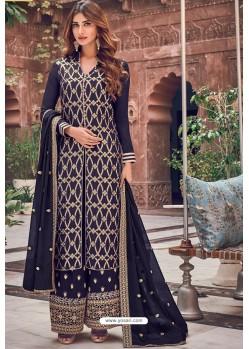 Black Pure Dola Jacquard Designer Palazzo Suit