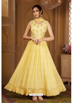Lemon Yellow Latest Heavy Embroidered Designer Wedding Anarkali Suit