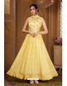 Lemon Yellow Latest Heavy Embroidered Designer Wedding Anarkali Suit