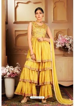Yellow Heavy Embroidered Designer Wedding Sharara Suit