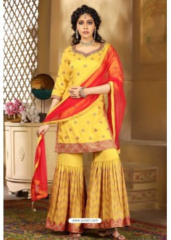 Mustard Heavy Embroidered Designer Wedding Sharara Suit