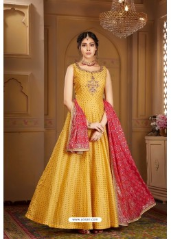 Yellow Latest Heavy Embroidered Designer Wedding Anarkali Suit