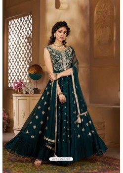 Teal Latest Heavy Embroidered Designer Wedding Anarkali Suit