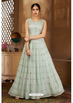 Light Grey Latest Heavy Embroidered Designer Wedding Anarkali Suit