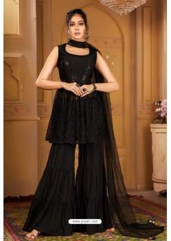 Black Heavy Embroidered Designer Wedding Sharara Suit