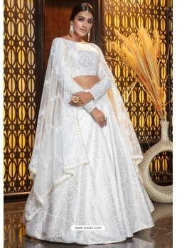 Fabulous White Heavy Embroidered Designer Party Wear Lehenga