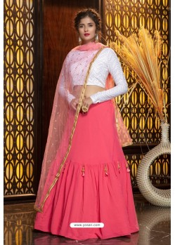 Dark Peach Heavy Embroidered Designer Party Wear Lehenga