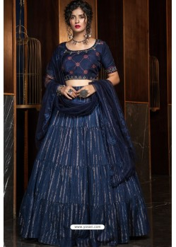 Navy Blue Heavy Embroidered Designer Party Wear Lehenga