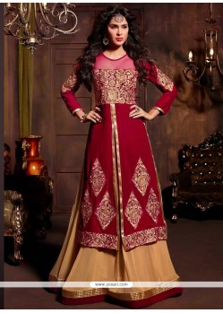 Magnificent Red And Cream Velvet Anarkali Suit