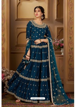 Teal Blue Latest Heavy Embroidered Designer Wedding Anarkali Suit
