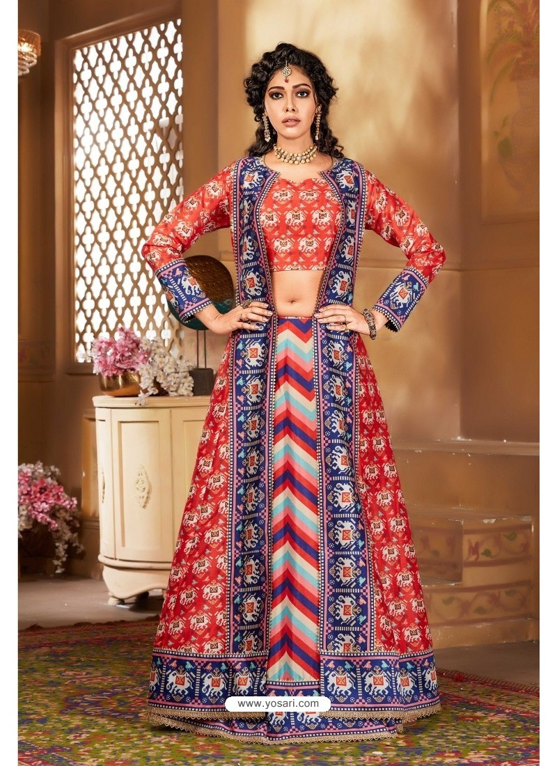 Light Red Heavy Embroidered Designer Party Wear Lehenga