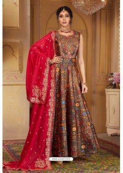 Light Brown Latest Heavy Embroidered Designer Wedding Anarkali Suit