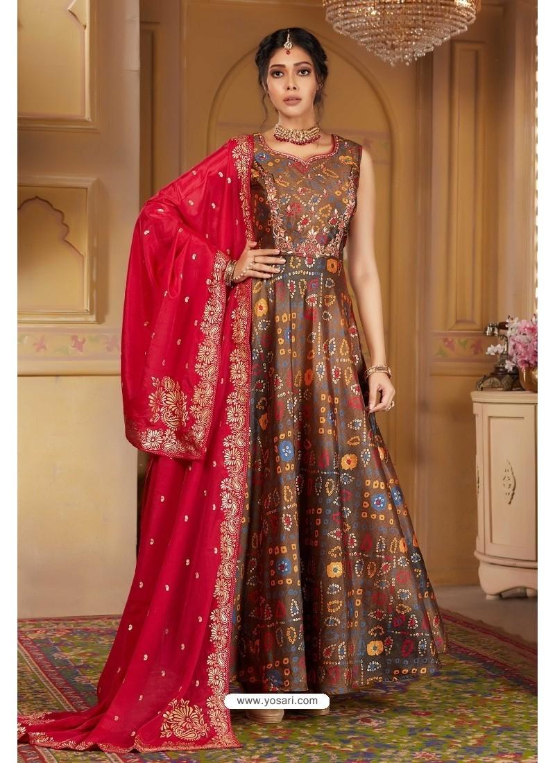 Light Brown Latest Heavy Embroidered Designer Wedding Anarkali Suit