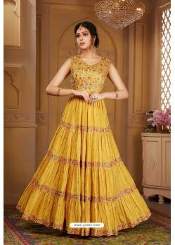 Mustard Latest Heavy Embroidered Designer Wedding Anarkali Suit