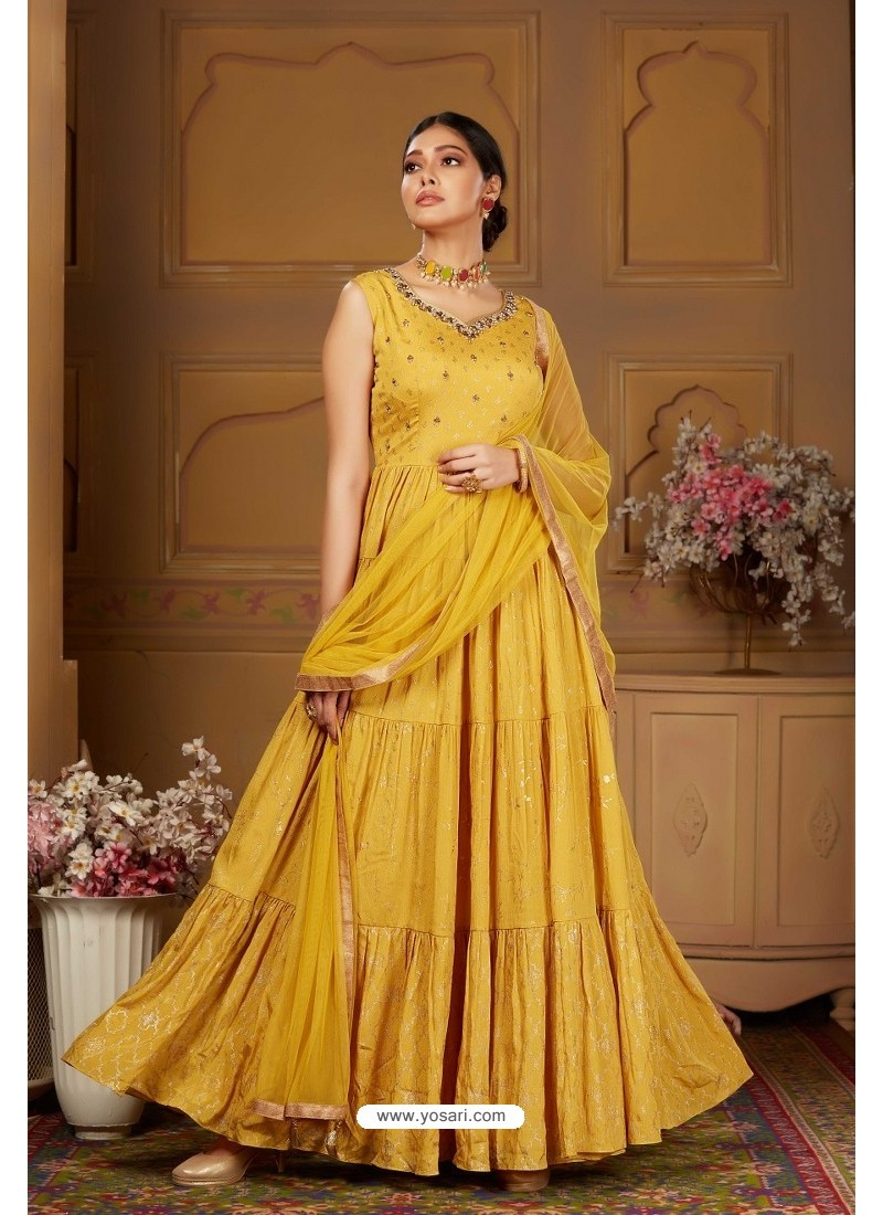Mustard Latest Heavy Embroidered Designer Wedding Anarkali Suit