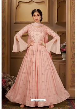 Baby Pink Latest Heavy Embroidered Designer Wedding Anarkali Suit