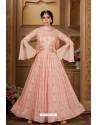 Baby Pink Latest Heavy Embroidered Designer Wedding Anarkali Suit