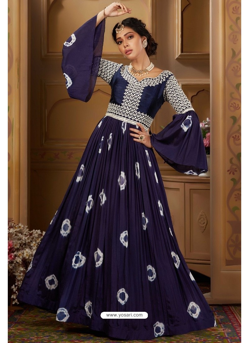 Dark Blue Latest Heavy Embroidered Designer Wedding Anarkali Suit