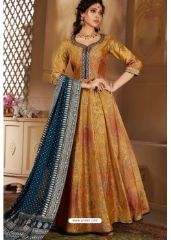 Marigold Latest Heavy Embroidered Designer Wedding Anarkali Suit