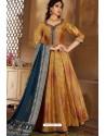Marigold Latest Heavy Embroidered Designer Wedding Anarkali Suit