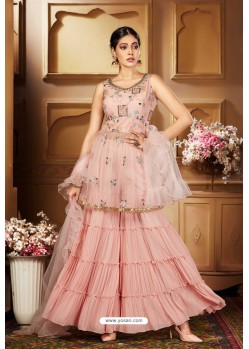 Baby Pink Heavy Embroidered Designer Wedding Sharara Suit