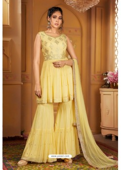 Lemon Heavy Embroidered Designer Wedding Sharara Suit