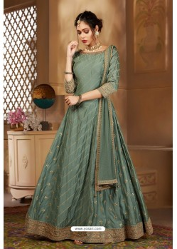 Grayish Green Latest Heavy Embroidered Designer Wedding Anarkali Suit