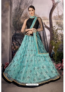Turquoise Stylish Designer Party Wear Lehenga