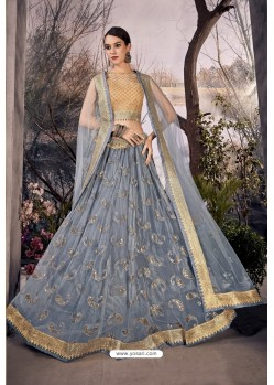 Grey Stylish Designer Party Wear Lehenga