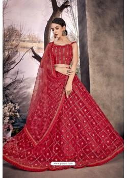 Red Stylish Designer Party Wear Lehenga