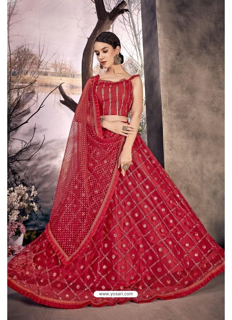 Red Stylish Designer Party Wear Lehenga