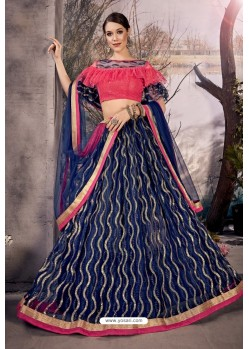 Navy Blue Stylish Designer Party Wear Lehenga