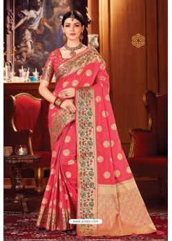 Peach Heavy Embroidered Traditional Wear Designer Silk Sari