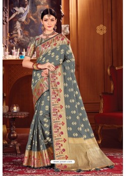 Grey Heavy Embroidered Traditional Wear Designer Silk Sari