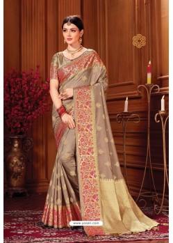 Light Brown Heavy Embroidered Traditional Wear Designer Silk Sari