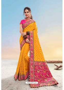 Yellow Heavy Designer Traditional Wear Wedding Sari