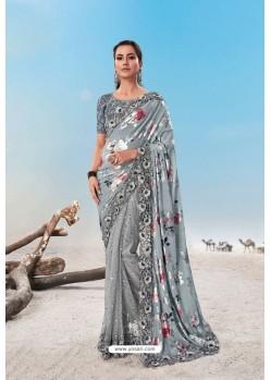 Silver Heavy Designer Traditional Wear Wedding Sari