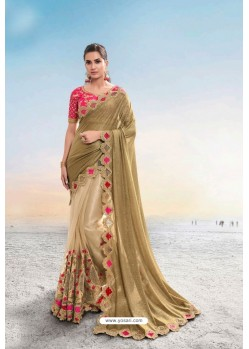 Beige Heavy Designer Traditional Wear Wedding Sari