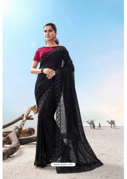 Black Heavy Designer Traditional Wear Wedding Sari