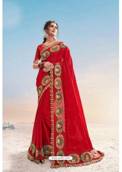 Red Heavy Designer Traditional Wear Wedding Sari