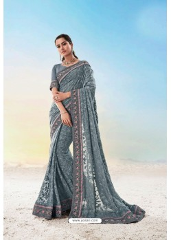 Grey Heavy Designer Traditional Wear Wedding Sari
