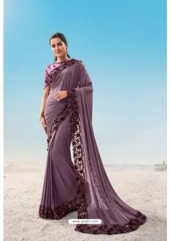 Lavender Heavy Designer Traditional Wear Wedding Sari