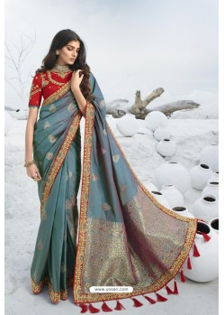 Turquoise Latest Heavy Designer Traditional Party Wear Silk Sari